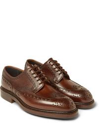 Zapatos brogue de cuero en marrón oscuro de Richard James