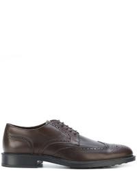 Zapatos brogue de cuero en marrón oscuro de Tod's