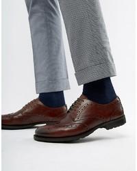 Zapatos brogue de cuero en marrón oscuro de WALK LONDON