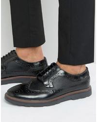 Zapatos brogue de cuero gruesos negros de Silver Street