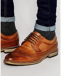 Zapatos brogue de cuero marrón claro de Asos