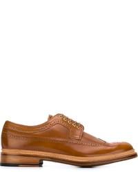 Zapatos brogue de cuero marrón claro de Grenson