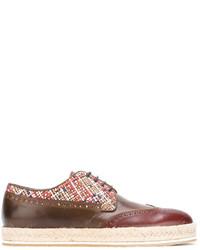 Zapatos brogue de cuero marrónes de Etro