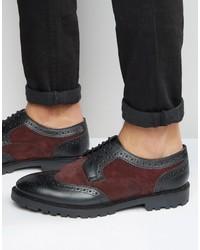 Zapatos brogue de cuero morado oscuro