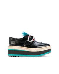 Zapatos brogue de cuero negros de Prada