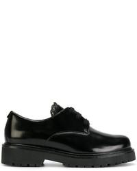 Zapatos con cordones de cuero gruesos negros de Twin-Set