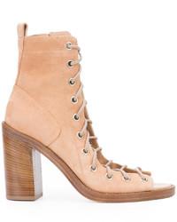 Zapatos con cordones de cuero marrón claro de Ann Demeulemeester