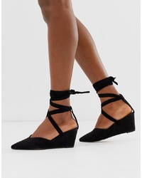 Zapatos con cuña de ante negros de ASOS DESIGN