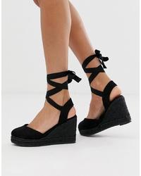 Zapatos con cuña de ante negros de Pimkie