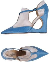 Zapatos con cuña de cuero azules