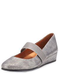Zapatos con cuña de cuero grises