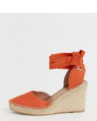 Zapatos con cuña de cuero naranjas de ASOS DESIGN