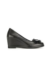 Zapatos con cuña de cuero negros de Baldinini