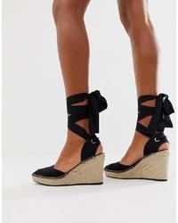 Zapatos con cuña de lona negros de ASOS DESIGN