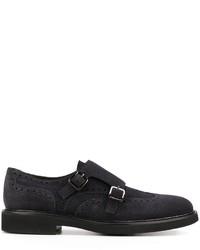 Zapatos con doble hebilla de ante azul marino de Canali