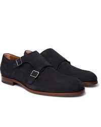 Zapatos con doble hebilla de ante azul marino de Hugo Boss