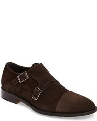 Zapatos con doble hebilla de ante burdeos
