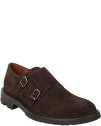 Zapatos con doble hebilla de ante en marrón oscuro