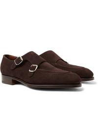 Zapatos con doble hebilla de ante en marrón oscuro de Edward Green