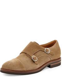 Zapatos con doble hebilla de ante marrón claro