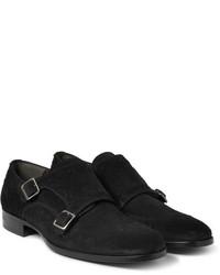 Zapatos con doble hebilla de ante negros de Alexander McQueen