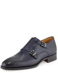 Zapatos con doble hebilla de cuero azul marino