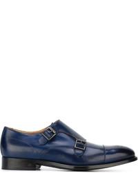 Zapatos con doble hebilla de cuero azules