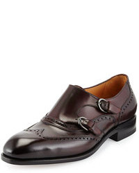 Zapatos con doble hebilla de cuero burdeos
