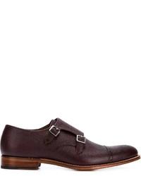Zapatos con doble hebilla de cuero burdeos de Grenson