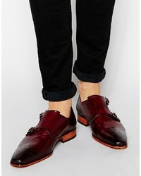 Zapatos con doble hebilla de cuero burdeos de Jeffery West