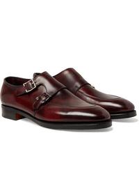 Zapatos con doble hebilla de cuero burdeos de John Lobb