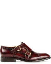 Zapatos con doble hebilla de cuero burdeos de Marc Jacobs
