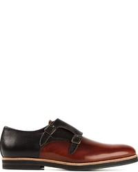 Zapatos con doble hebilla de cuero burdeos de Oxymoron