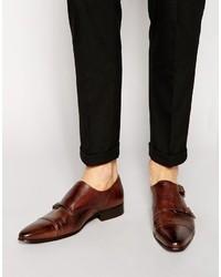 Zapatos con doble hebilla de cuero en marrón oscuro de Asos