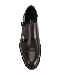 Zapatos con doble hebilla de cuero en marrón oscuro de DSQUARED2