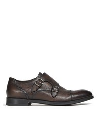 Zapatos con doble hebilla de cuero en marrón oscuro de Ermenegildo Zegna