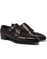 Zapatos con doble hebilla de cuero en marrón oscuro de George Cleverley