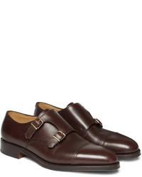 Zapatos con Doble Hebilla de Cuero en Marrón Oscuro de John Lobb