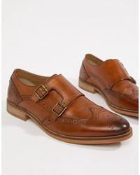 Zapatos con doble hebilla de cuero marrónes de ASOS DESIGN