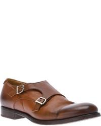 Zapatos con doble hebilla de cuero marrónes de Doucal's