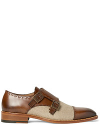 Zapatos con doble hebilla de cuero marrónes de Etro