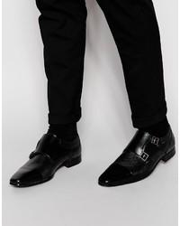 Zapatos con doble hebilla de cuero negros de Asos