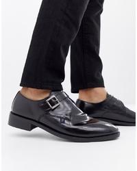 Zapatos con doble hebilla de cuero negros de Farah