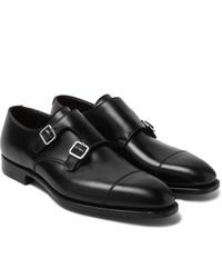 Zapatos con doble hebilla de cuero negros de George Cleverley