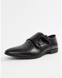 Zapatos con Doble Hebilla de Cuero Negros de Pier One