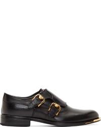 Zapatos con doble hebilla de cuero negros de Versace