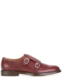 Zapatos con Doble Hebilla de Cuero Rojos de Gucci