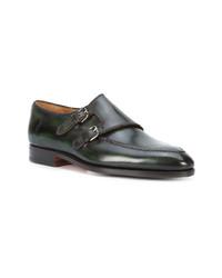 Zapatos con doble hebilla de cuero verde oscuro de Bontoni
