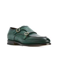 Zapatos con doble hebilla de cuero verde oscuro de Santoni