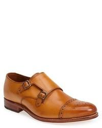 Zapatos con doble hebilla marrón claro